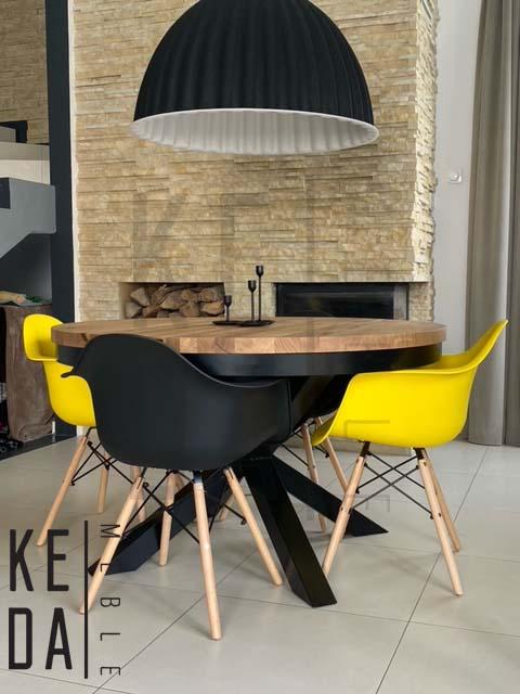 Stół dębowy, okrągły pająk na metalowej podstawie, stół na zamówienie, stół loft, rozkładany, industrialny stół okrągły, okrągły stół rozkładany, stół na wymiar, stół o średnicy 130cm, stół nowoczesny,