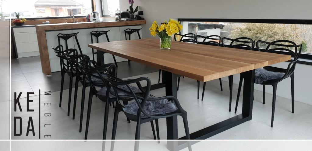 stół debowy, warszawa, wrocław, katowice, poznań, łódź, gdańsk, stół w kuchni, stół w jadalni, nowoczesny stół, stół z metalowymi nogami, biała kuchnia,