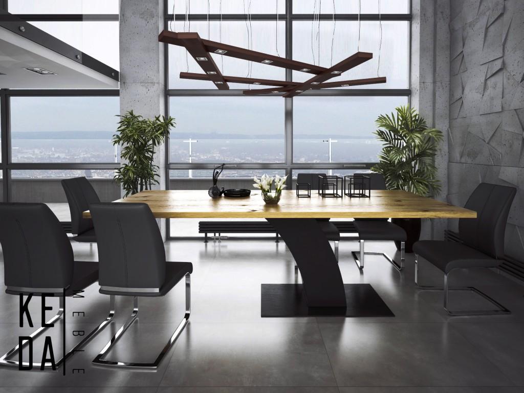 Stół Hout, drewniany stół do jadalni, loftowy stół na postumencie, industrialny stół, stół kedameble, producent stołów, pracownia mebli dębowych nowoczesny stół