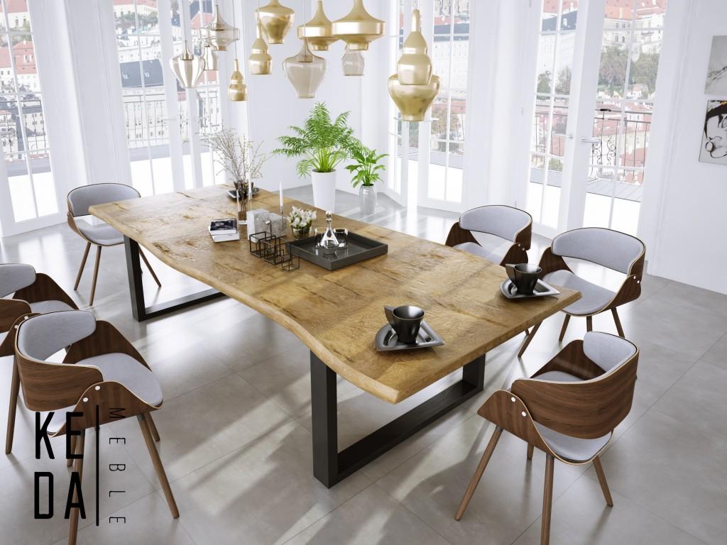drewniany stół rozkładany santos loft, loft industrial, duzy stół, wrocław, odolanów, poznań