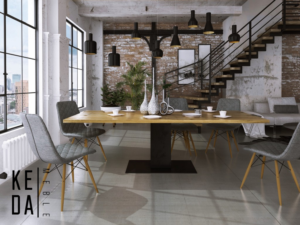 loftowy stół na postumencie, nowoczesny stół do jadalni, loftowy stół, industrialny stół 200x100 Voet kedameble