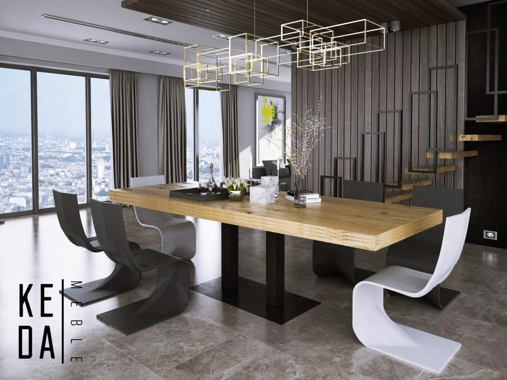 stół Yosimite Industrialny stół, stół dębowy, naturalny blat, monolit, rozkładany stół dębowy, loft industrial, duzy stół, wrocław, odolanów, poznań