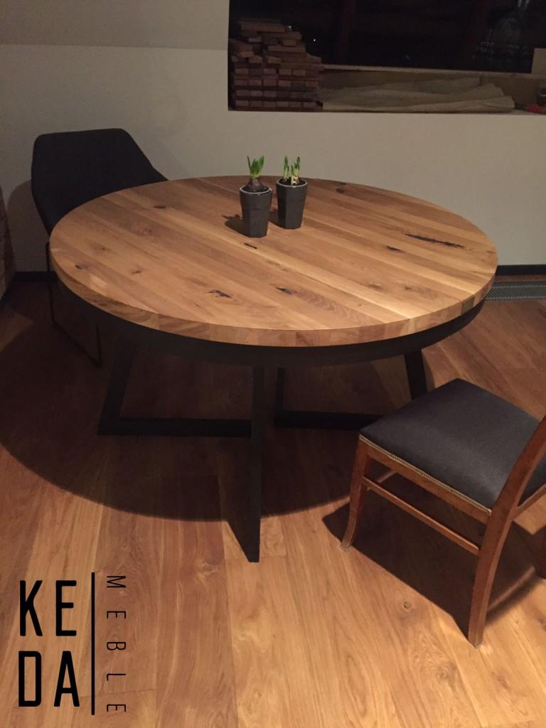 industrialny stół, stół loft, dębowy stół okrągły, nowoczesny stół, stół do jadalni, okrągły stół 130cm stół srednicy 130cm, okrągły stół do jadalni