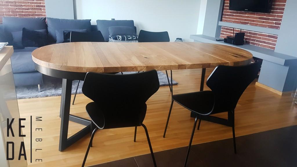 Okrągły industrialny stół Vouwiel