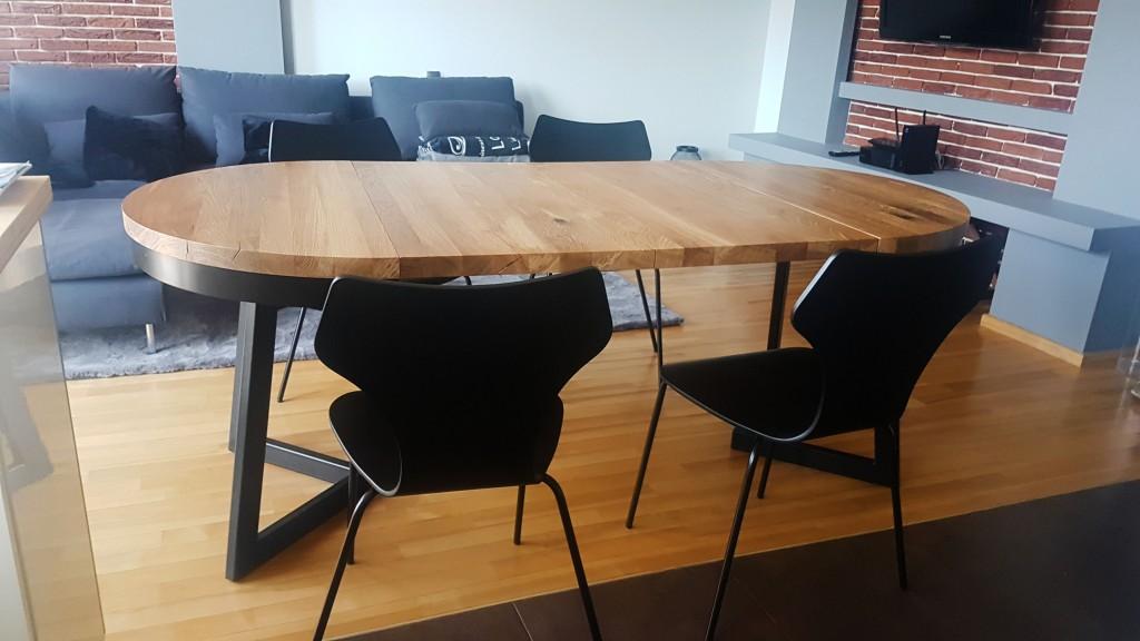 stół okrągły Vouwiel dąb, kedameble, producent stołów, pracownia mebli dębowych