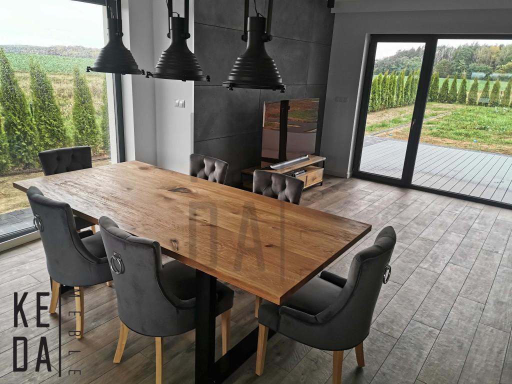 stół loft, dębowy stół z czarnymi nogami, loftowy stół, industirlany stół z metalowymi nogami, kedameble, meble debowe ostrów wielkopolski