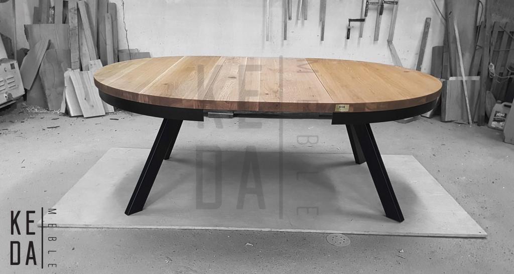 okragły stół rozkładany, sół na 4 osoby, stół na 6 osób, stół 8 osobowy,, stół loftowy, stół loft, meble loft, meble loftowe, industialny stół okrągły, kedameble, meble ioftowe