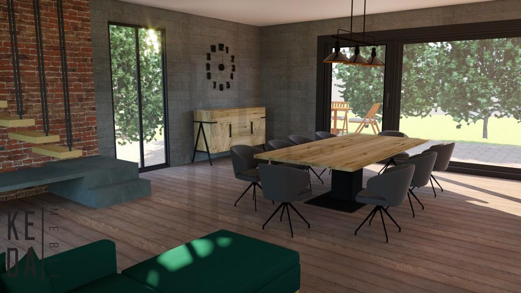 Stół Voet,Komode Eik,stół dębowy,stół do salonu,stół do jadalni,komoda dębowa,duża komoda,duży stół,meble do salonu,meble debowe do domu,meble do jadalni,meble loft,kedameble