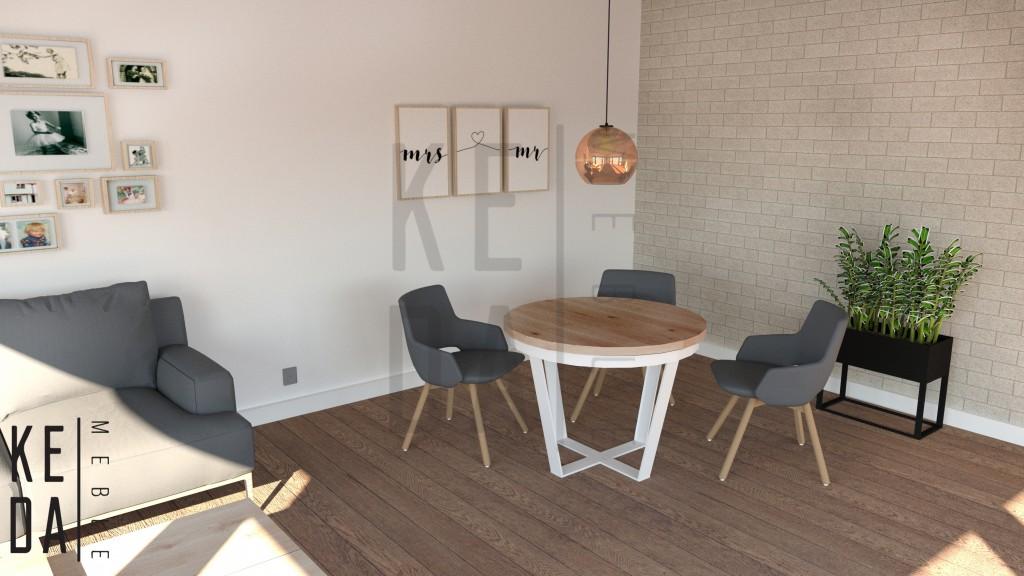 Stół okrągły Olwyn,stół do salonu,stół dębowy,stół na zamówienie,stół do salonu,stół loft,meble loft, meble industrialne, stół industrialny,producent mebli,kedameble