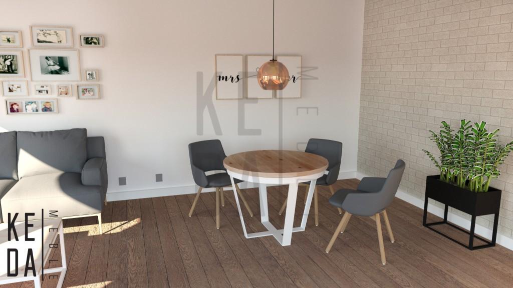 Stół okrągły Olwyn,stół do salonu,stół dębowy,stół na zamówienie,stół do salonu,stół loft,meble loft,meble industrialne, stół industrialny,producent mebli,kedameble